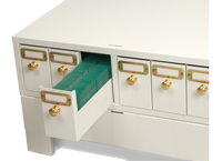 Microscope slide storage cabinet with drawer out showing how slides are stored